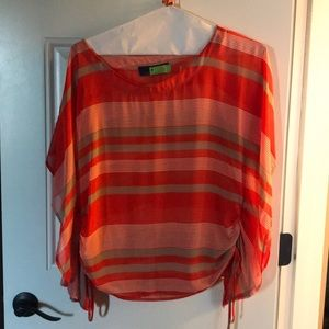 Tops - Orange and tan flowy top